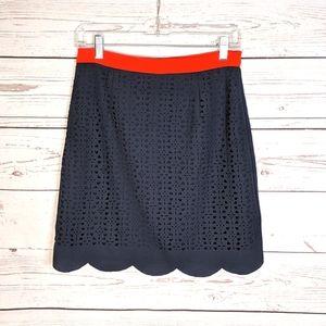 Pixley Navy Blue Skirt with Scalloped Hem Small